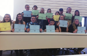 Several Barone Middle School students in Meeker qualified at the regional History Day competition on March 7 in Grand Junction to compete at the state competition, which will be held May 2 in Denver. Pictured, in the back row, from left, are: Kassie Luce, Tori Lasker, Abby Rosendahl, Kylee Bradford, Alex Murray, Charlie Day, Krissie Luce and Lila Klinglesmith. In the front row, from left, are: Allie Willey, Briar Meszaros, Pake Burke, Kale Burke, Gracie Bradfield and Kenzie Turner. Not pictured are Kallie McCain and Savana May.
