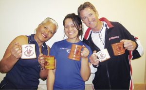 Last year's Rangely Racquetball Tournament had family members, from left,  Aiaga Roffey (first in Women's A division), daughter Adena Duncan (first in Women's D division) and husband Ed Roffey (second in Men's Open division) taking home handmade, one-of-a-kind tournament souvenirs made by Rangely potter Elizabeth Robinson Wiley. While sign-up closed on Monday, the tournament will be held Friday through Sunday at the Rangely Recreation Center.