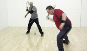 Pat Franz, left, and Tywayne DeCuir, both of Rangely, compete for first place in the Men's A Division during last weekend's Rangely Racquetball Tournament.