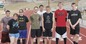 The Rangely Panthers track team got off to a good start last week at the Rifle Invitational meet. Seniors on this year's track squad are, from left to right, Christopher Vega, Dawn Stephens, Jessica Tolley, Marshal Way, Colt Allred, Ethan Allred, Mitchell Webber and James Scoggins.