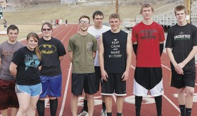 The Rangely tracksters put in a good showing at the Hotchkiss Invitational meet last weekend. Seniors on this year's track squad are, from left to right, Christopher Vega, Dawn Stephens, Jessica Tolley, Marshal Way, Colt Allred, Ethan Allred, Mitchell Webber and James Scoggins.