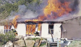 At about 3 p.m. on April 22, a home at 1107 Pinyon St. in Meeker, above, was reported on fire. The fire quickly consumed the home of Glen and Rose Abbott, but no one was home and no one was hurt. Meeker Fire and Rescue was able to save the garage, just a few feet southwest of the home.