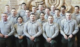 CNCC's National Park Ranger Academy held its spring 2015 graduation on the college's Rangely campus on April 3. The Academy at CNCC is one of only seven in the United States—all are law enforcement programs. The spring 2015 graduates are: (front row) David Elliott, Destiny Gardea, Richard Gonzales, Alexander Knaak, Daniel Dodd; (middle row) Jeff Castillo, Jeff Cummings, Robert Stetler, Katelyn Mahoney, Chais Saunders, Joe Kissner; (back row) David Grissom, Scott Simmerman, Tim Zimmerman, Gregory Agar, Nick Johnson-Moyneur and Richard Reagan.
