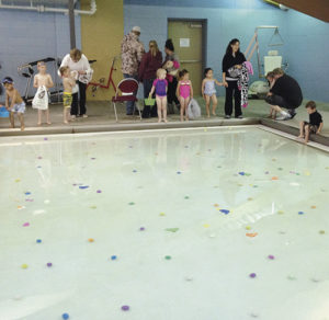 Approximately 60 children participated in the Western Rio Blanco Metropolitan Recreation and Park District's annual pool Easter egg hunt at Rangely's recreation center Thursday, April 2. Divers collected $650 in eggs filled with cash and prize tickets donated by the district and EMC Plumbing and Heating.
