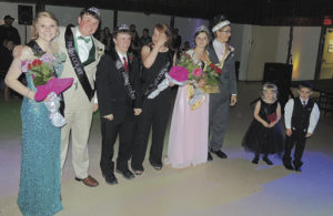 The members of the royalty court for the Meeker High School Prom on Saturday at the Fairfield Center were announced at 10 p.m. following the royal march. From left to right are: Duchess Reagan Pearce and Duke Sam Baylie; first attendants Tristin Pelloni and Sydney Hughes; and MHS King Anthony Watt and Queen Brittany Smith.