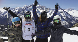 Paula Cooper, formerly of Rio Blanco County, went through the Rio Blanco County 4-H program and honed her skills at sheep shearing during her 4-H years. She is currently in Italy at the FIS Freestyle Junior World Ski Championships in Valmalenco, Italy. Above, Paula (No. 3) is standing atop one of the mountains in Italy, skiing with fellow athletes.