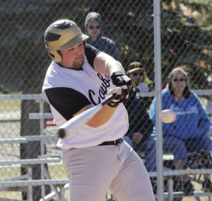 Meeker High School senior Kash Atwood made contact with this ball and hit a double in the second game of a doubleheader against the Paonia Eagles. The Cowboys traveled to Hotchkiss on Tuesday to play the Bulldogs in a doubleheader and will host them for another doubleheader on Saturday at Paintbrush Park.