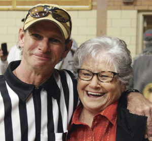 "Kai Turner, pictured with his mother, Ann, was an honorary referee. The Turner family and friends all share their time and experience with the Meeker youth each year and it is fun to watch kids like Dillon Hobbs (above) as he pins his opponent with a ""Meeker cradle"" learning the world's oldest sport."