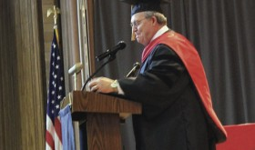 Colorado Northwestern Community College President Russell George opened the 2015 CNCC commencement ceremony. Terri Wilczek also spoke to the students about the importance of scholarships and what they mean.