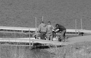 The warmer weather and lots of sunshine have made for good boating and fishing on Lake Avery, about 21 miles east of Meeker on County Road 8. This group of fishermen took advantage of the ice-free waters and the newly repositioned dock to try their luck fishing on the lake on April 14 while several individuals and family groups fished from the shore.