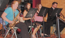Meeker High School/Barone Middle School music director Jeff Hemingson, far right, joined the Jazz Band members at Monday night's 2015 MSD Spring Concert. Members of the Jazz Band are Lauren Urista on alto sax, Delenn Mobley on clarinet and Shelby Steele on flute. Not visible behind the band is percussionist Macy Collins.