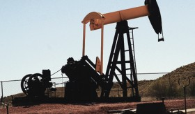 "A replica of the Raven A-1 pumping unit, the first ""wildcat"" deep well in the Rangely Weber Sand Unit that was drilled by the California Oil Co. in 1931, was moved from its former wellhead site outside of Rangely to the Rangely Museum on April 10."