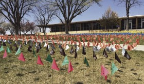 Colorado Northwestern Community College's annual Holocaust Awareness Week included lectures on the circumstances that led up to and perpetuated the Holocaust and resistance to it, along with discussions about the Rwandan and Cambodian genocides. One flag in the Field of Flags in front of the McLaughlin Building represented 5,000 lives lost, with each color representing a different ethnic, social or political group.