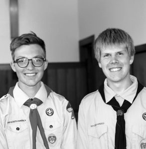 Rangely Boy Scouts Marshal Way, left, and James Scoggins, right, celebrated their being awarded the Eagle Scout Award this past week with friends and family. Members of Boy Scout Troop No. 150, both scouts earned 21 or more merit badges and successfully completed a community project. Only four percent of all Boy Scouts attain the the rank of Eagle.