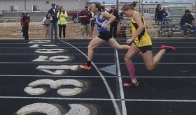 Meeker's Barone Middle School concluded its track season Saturday in Craig. The photo above captures the running of the girls' 200-yard dash with Quinn Pint from Craig, left, and Gracie Bradfield from Meeker, right, competing for the win.