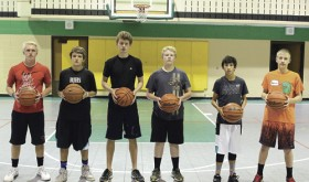 Members of the Rangely High School boys' basketball team started the summer on Monday with a morning of fun, shooting 500 free throws each. As team members move into the summer, this becomes a fund-raiser event to help with travel costs as they head to various tournaments. A total of 1,791 shots were made Monday, however they came up a little short on donations and would appreciate any support. Please contact Rangely High School if you would like to add you support. From left to right are Patrick Scoggins, Trenton Files, Brennan Noyes, Riley Boydstun, Kobe Broom and Marshall Webber.