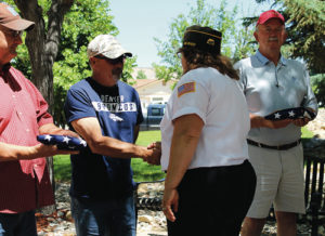 Also attending the Flag Day ceremony in Rangely on Monday were officials from the WRBM Recreation District and the Town of Rangely, from left: Tim Webber, George Fortunato, new Rangely VFW Cmdr. Lisa Hatch, Rangely Mayor Frank Hewitt and present but not pictured, Rangely Town Manager Peter Brixius.