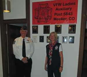 Meeker VFW Cmdr. Dave Cole and his wife, Martha Cole, stand in front of a number of certificates and plaques referring to the Meeker VFW Ladies' Auxiliary No. 5843, which is also at home at 290 Fourth St., a location they share with the Meeker Lions Club, Meeker VFW Post No. 5843 and the American Legion Post No. 74. Residents, veterans and persons interested in joining any one of the groups is invited to stop in, most business hours of the day, during the week.