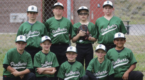 The Rangley Recreation League Baseball Team Panthers. In the back row, from left to right, are: Brent Cantrell, Austin Davis, Nevaeh Bland and Byron Mackay. In the front row, from left to right, are; Justin Cudo, Andrew Dorris, Wyatt Tull, Anthony Dorris and Luis Quintana.