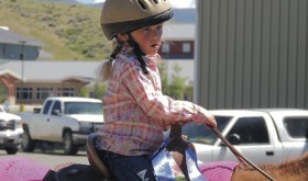 Proud of her first-place ribbons is Isabella Brown of Vernal, Utah, who was busy Friday morning competing in the PeeWee Horsemanship Class events. Several children from Utah and Northwest Colorado, including Rangely and Meeker, competed in the class events.