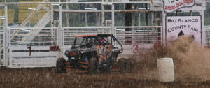 The roughly 150 OHV riders in Meeker for the weekend had a great time out four-wheeling, and running a barrel race in a downpour at the fairgrounds. The OHV Rodeo was held Saturday as part of the 2015 Colorado Off-Highway Vehicle Coalition Workshop and the 2015 Wagon Wheel Rendezvous, sponsored by the Meeker Chamber of Commerce and Rio Blanco County.