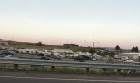 Sunset over fairgrounds…