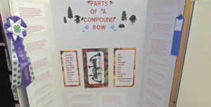 "There were several dioramas on display at the Rio Blanco County Fair, and this one, which garnered a champion ribbon, is titled ""Parts of a Compound Bow."" The display was created by Dayton Willey and was a part of the county's 4-H competition."