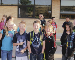 Rangely Schools are into their second week of classes, and Parkview Elementary School students, from left: Kadence Wagner, Anthony Dorris, Marstan Wagner, Andrew Dorris and Will Urie seem to be pretty happy back on the campus.