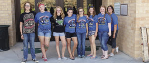 Members of the Rangely High School Student Council showed their school spirit by painting more than 100 'Panther Paws' throughout the district in time for classes to open on Monday. From left to right are council members Tommy Jarvis, McKenzie Webber, Anntoinette Dorris, Braylee Cassavaugh, Justyne Dembowski, Samantha Lapp, Kaylee Mecham and Alexis Wylie.