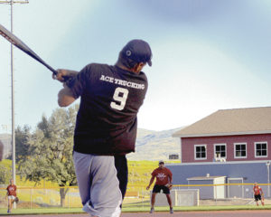 Donald Blazon, who plays for Ace Trucking in the Meeker Co-ed Softball League, sponsored by the ERBM Recreation and Parks District, takes a swing during a recent game at Paintbrush Park. Ace Trucking will enter the annual tournament, which starts Monday, as the No. 1 seed. The championship game will be played on Tuesday at Paintbrush Park.