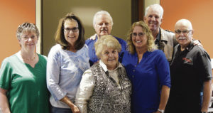 The 2015 officers for the Colorado Northwestern Community College Foundation are, from left: Foundation Treasurer Karol Bullen, Foundation Secretary Diane Sizemore, Foundation Vice Chair Reed Kelley, Foundation Chair Ann Brady and at-large board members David Cole and Ray Beck. In front is out-going board chair Peggy Rector.