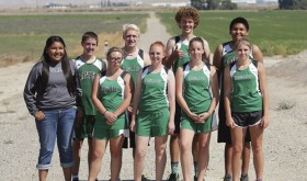 Members of the Rangely High School cross-country team are, from left to right, front row: Manager (junior) Makayla Filfred, sophomore Miekka Peck, junior Savannah Nielsen, freshman RaeLynn Norman and freshman Phalon Osborn. In the back row, from left, are: sophomore Caleb Noel, sophomore Patrick Scoggins, sophomore Brennan Noyes and sophomore Cameron Filfred.