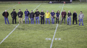 Local members of the sheriff's office, police department, emergency medical personnel and fire and rescue were recognized and honored at mid-field during halftime of the football game on Sept. 11.