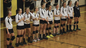 The Meeker varsity volleyball team, which consists of Kinzy Burke, Jenna Walsh, Halle Ahrens, Peyton Burke, Reese Pertile, Avery Watt, Maggie Phelan, Kassie Luce, Krissie Luce and Lori Ann Klinglesmith, lost to Vail Christian 3-1 in their first match at home this season. Meeker will play in Grand Junction on Friday against Caprock Academy, then travel to Kremmling the following day.