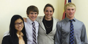 Colorado State Sen. Kerry Donovan, D-Vail/Wolcott, second from right, stands with Meeker High School juniors, from left, Delenn Mobley, Sheridan Harvey and Casey Turner, who spoke with the senator about their college hopes and dreams. Donovan is a science graduate from the University of Notre Dame, where she was also an assistant to the Fighting Irish football team. Donovan went to high school in Vail. She's a former director of academic programs for the Vail Ski and Snowboard Club and a former member of the Vail Town Council.