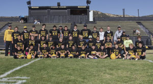 The Barone Middle School football teams played their final game of the season in Starbuck Stadium against the Glenwood Springs Demons. The seventh-graders finished with a 2-4 record and the eighth-grade finished 0-6. Playing for the young Cowboys this season were; Front row: Austen Richardson, Axel Oliva, Diego Garcia, Justin Piloni, Brandon Blaisdell, Braydon Garcia, JR Gaeta, Brady Potetz, Colton Wille, Josh Murphy, Carter Strate and Jon Baker. Middle row; Juan Oliva, Cleone McPherson, Dax Sheridan, Jeremy Woodward, Colby Clatterbaugh, Cooper Main, Trapper McGruder, Tanner Ridgeway, Elijah Deming, Cole Rogers, Chayton Bumguardner, Charles Curry and Phil Arnold. Back row; Coach Darby Finley, Ridge Williams, Kesston Hobbs, Reese Harvey, Josh Dinwiddie, Caleb Hall, coach Chip Brown, Ryan Phelan, Todd Patterson, Colby Shelton, Tevin Pelloni, Jake Shelton, Cris Aschcraft, coach Jason Browning and manager Peter Hanks. Not pictured; Tucker Slaugh.
