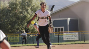 Meeker High School freshman Tori Lasker is pictured pitching in Paintbrush Park during a recent game against Cedaredge. Meeker lost its final game of the regular season to Gunnison 9-8, in extra innings. Meeker (9-9) will play Brush (12-7) in Cedaredge, this Saturday at 10 a.m., with the winner advancing to the state tournament the following week.