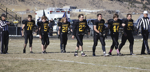 """Meeker High School football coach Shane Phelan said he """"appreciated each one,"""" of his seniors and the effort they have given the past four years. Meeker senior captains: Jacob Nielsen, Zachery Medlin, Conner Pfister, Dillon Frantz,  T.J. Shelton, Devon Pontine and Kash Atwood, played their final football game in Starbuck Stadium on Saturday, as they lost to Resurrection Christian in the quarterfinals of the 1A Colorado State football playoffs."""