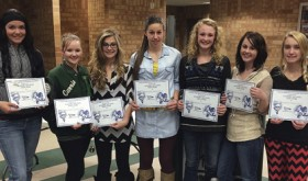 The Rangely High School volleyball team held its year-end banquet on Monday night. A big congratulations to Katelyn Brown, who was named to All-Conference First Team, and Justyne Dembowski and Sarah Conner, who were named to All-Conference Honorable Mention. Also a big congratulations to Katye Allred, Carrie Goddard, Justyne Dembowski, Lindzey Thacker, Antoinette Dorris, Corinne Coombs and Marielle Ivie for their honor of Academic All State First Team. These girls carry a GPA of 3.6 or higher. Katelyn Brown was the team's most valuable player, Kassidee Brown was rookie of the year and Allana Wiley was most improved.