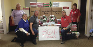 On Monday, volunteers showcased the many gift boxes donated by Meeker folks to the Operation Christmas Child box campaign.  The individuals and families of Meeker did a great job putting together a total of 364 shoe box gifts in December. This year's efforts were significantly greater than previous years and that was consistent with reports from other locations in Western Colorado. These boxes of gifts went to the regional drop-off center in Grand Junction, one of more than 4,000 such locations across the country. Last year alone, more than 10 million shoeboxes went as gifts to needy boys and girls around the world. Operation Christmas Child is a project of Samaritan's Purse© and a number of Meeker's local churches participate, including Emmanuel Baptist Church, which was the gathering spot for the donations/boxes.