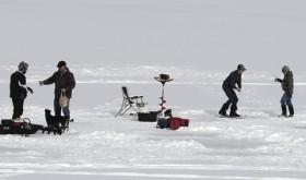 Ice fishing on Lake Avery…