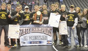 "The Meeker High School wrestling program made history by winning its eighth state team wrestling title at the 2016 Colorado State Wrestling Championships in the Pepsi Center last weekend in Denver. Meeker senior T.J. Shelton became the 19th wrestler in Colorado history to win four individual state wrestling titles and doing so in such dominate fashion, he was named the 2A Outstanding Wrestler and received two standing ovations for his efforts. Meeker head coach J.C. Watt's efforts were also recognized as he was named the 2A Coach of the Year after his team was awarded the trophy. Every Meeker state qualifier won a match and scored at least one bonus point for the team. ""It truly was a team win,"" coach Watt said."