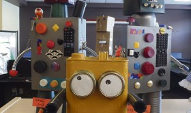 """January was Library Month at Meeker Elementary School, and above are three of the 111 robots turned in, made of real materials or LEGOS as part of the """"Robots"""" theme at the library, which was emphasizing STEM (Science, Technology, Electronics and Mathematics) projects."""