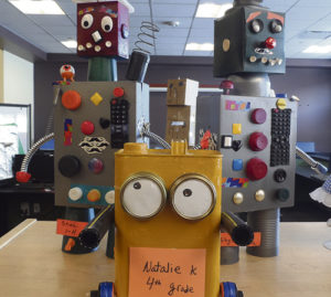 "January was Library Month at Meeker Elementary School, and above are three of the 111 robots turned in, made of real materials or LEGOS as part of the ""Robots"" theme at the library, which was emphasizing STEM (Science, Technology, Electronics and Mathematics) projects."