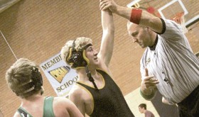 Meeker junior Ty Gibson gets his arm raised in victory for the first time ever Saturday at the Meeker Duals and now he, along with his teammates, will enter the state-qualifying regional tournament this Friday, starting at 1 p.m., on the Colorado Mesa University campus in Grand Junction.