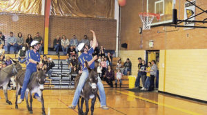 Being mostly parked under the basket on the students' end of the basketball court put MHS student Ty Dunham in good position to score. However, this is one of the few shots that Dunham actually made during the Meeker FFA benefit fundraiser event on April 20 in the MHS gymnasium. Despite a strong second-half attempt to overcome the community team (old folks), the students came up just a few points short.