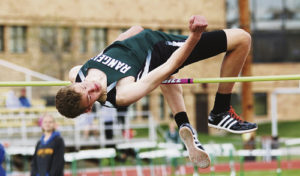 The Rangely High School Panther track team played host to a five-school track and field meet in Rangely on Saturday and one of the highlights of the meet was Rangely's Brennan Noyes, who is seen here clearing the high jump bar at an impressive 6 feet 4 inches.