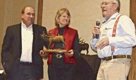 White River Habitat Partnership Program Committee Chairman Michael Grady is seen here receiving the Joe Gerrans Award during the Statewide HPP Conference in Denver. Grady is now retiring. From left to right are: HPP State Program Manager Pat Tucker, Linda Gerrans, widow of Joe Gerrans, the award's namesake, and Michael Grady.