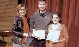 At the May 11 Meeker High School awards assembly, Principal Amy Chinn stands with the 2016 Quigg Newton Award winners, Jacob Smith and Madison Shults. The award is named for a former mayor of Denver and president of the University of Colorado. Chosen by high school staff, the awards recognize honesty, respect for others, cooperation with fellow students and adults, good attitude toward work and activity assignments, willingness to accept and carry out responsibilities and efforts to improve themselves and their school.