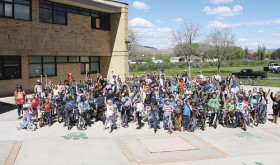 Roughly 200 students are pictured here after riding their bicycles to school for the annual Rangely Ride Your Bike to School Day on May 11. A number of games, activities and a bike rodeo were all a part of the event, which was considered a sweeping success.
